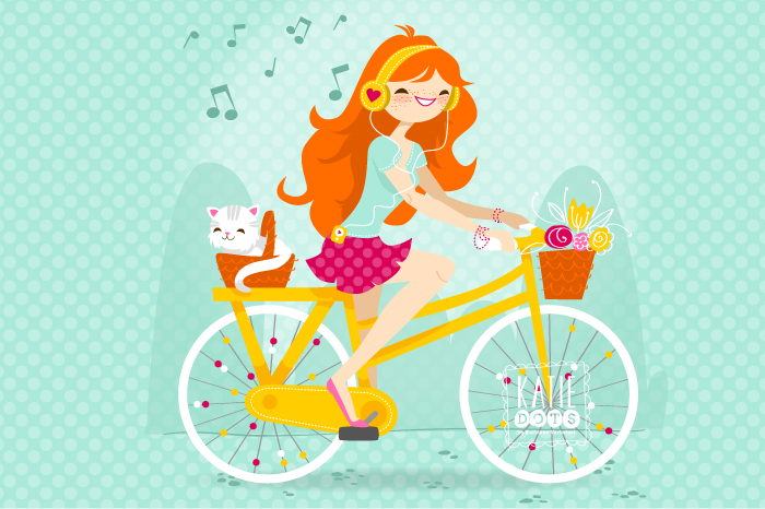 I want to ride my bicycle - Katie Dots by Kathleen Verhetsel