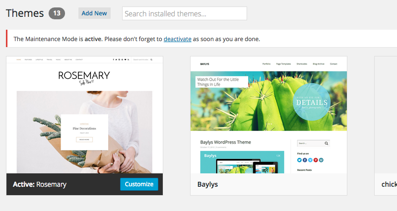 WordPress - Installeer een theme