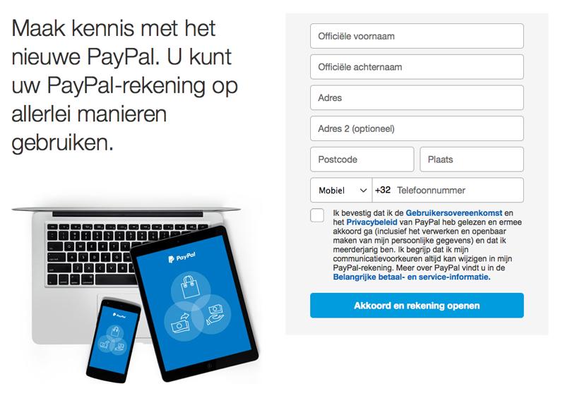 PayPal - een account aanmaken